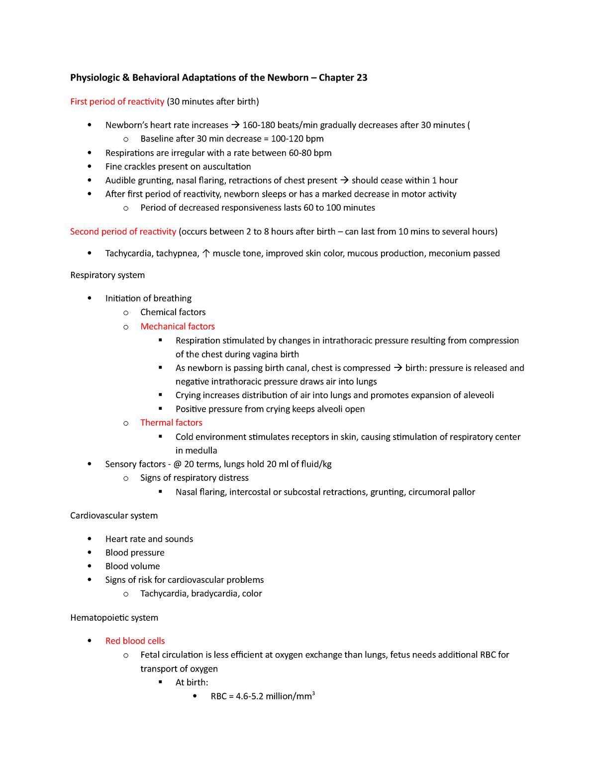 OB Lecture Notes - Week 6 - NSG 440: Maternal Health Nursing