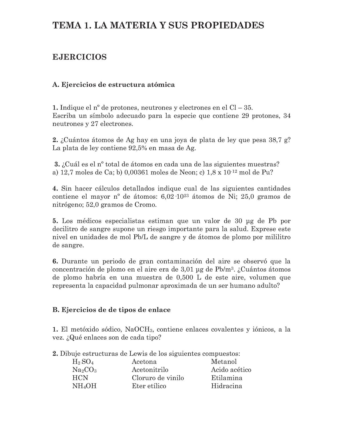 Ejercicios Obligatorios Orgánica En Biociencias Ejerciocios