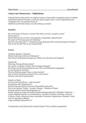 Zusammenfassung Tutorium 1 Analyse Einer Dramenszene