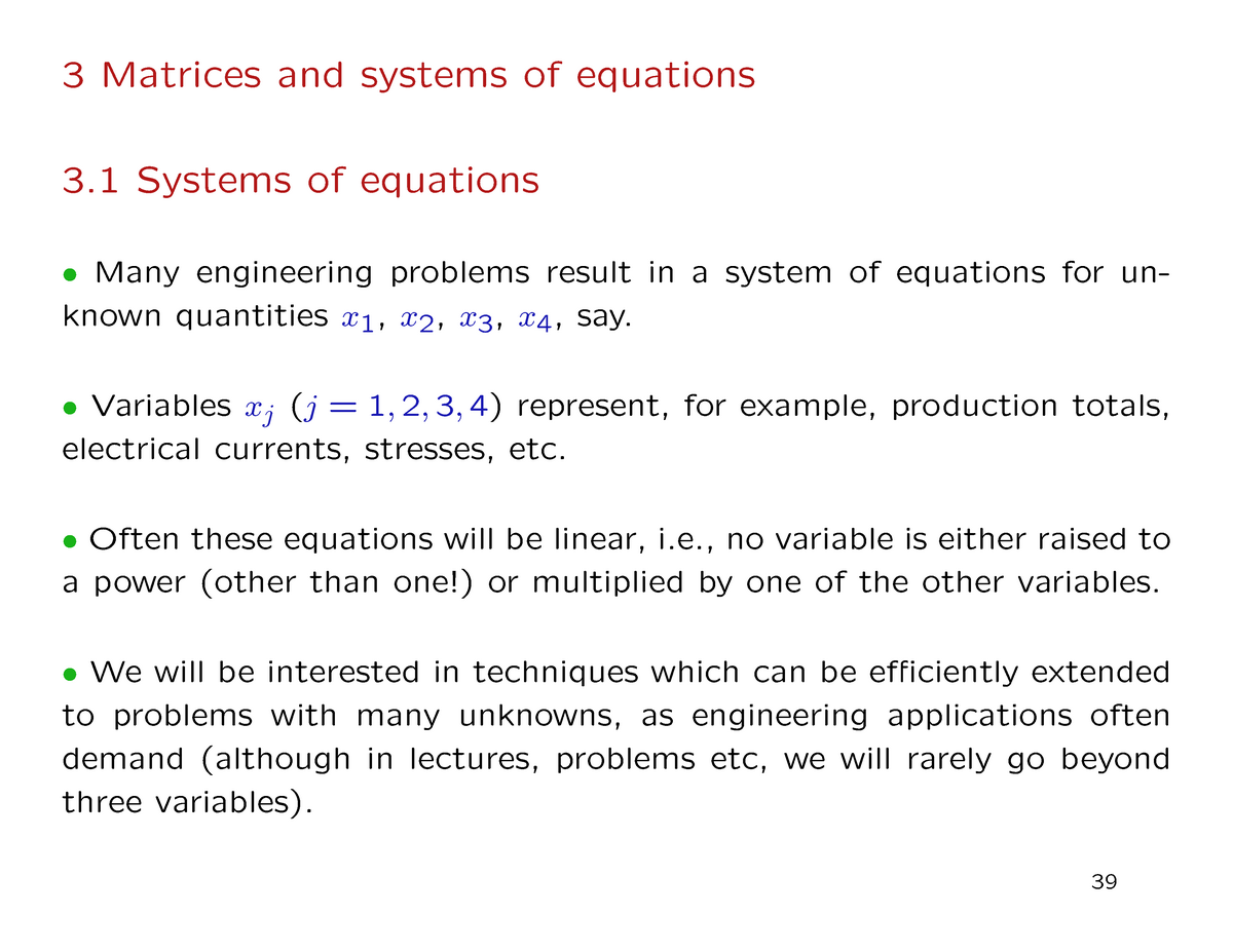 Matrices and system of equation - Engineering Mathematics