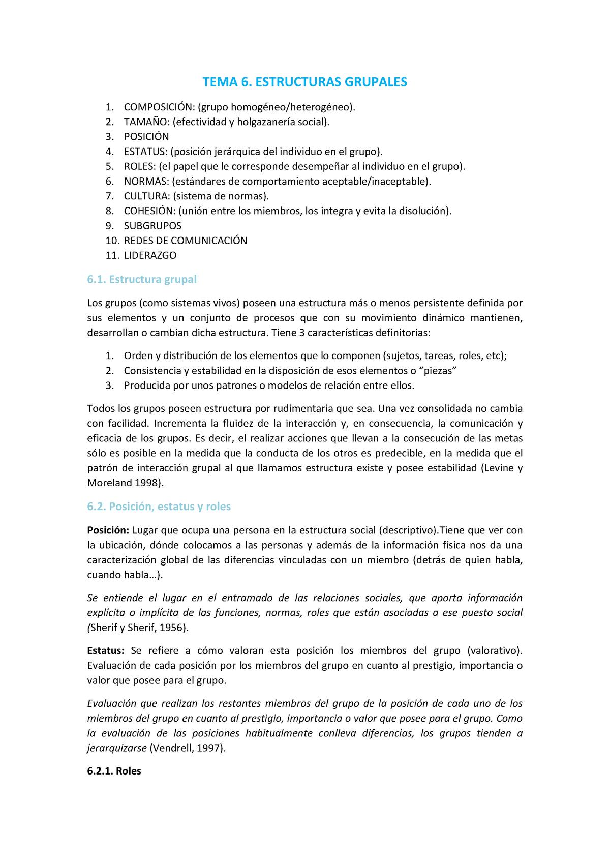 Tema 6 Estructuras Grupales Ub Studocu