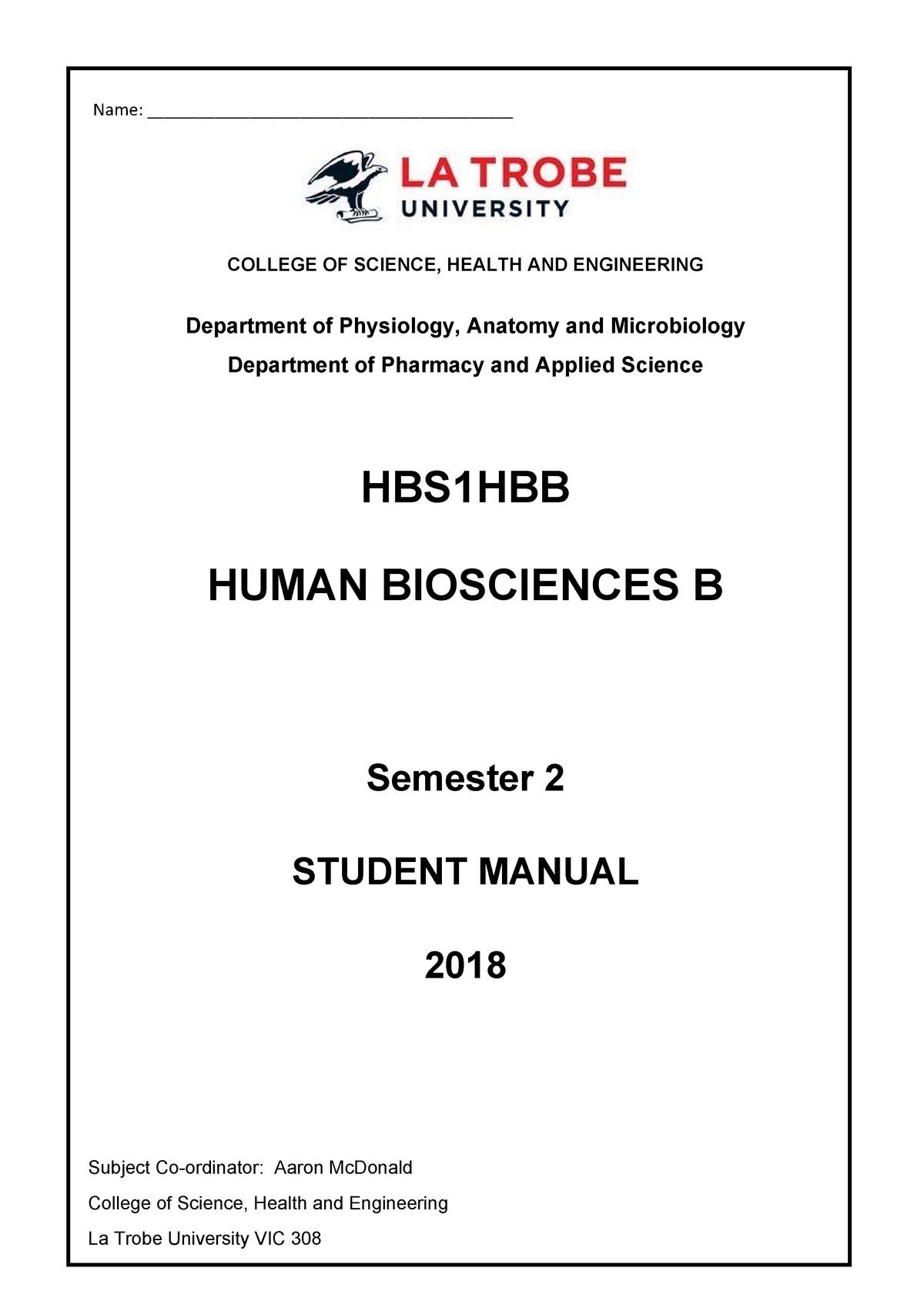 HBS1HBB Student Manual 2018 - Human Biosciences B - LaTrobe