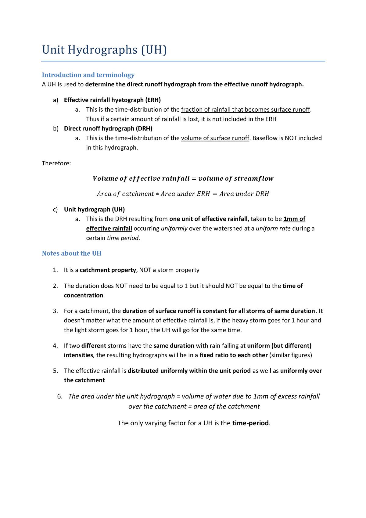 Summary - Extensive notes on Unit hydrographs - CVEN3501