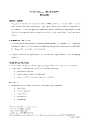 Advice on Evidence Exemplar - 5194LAW: Evidence - StuDocu