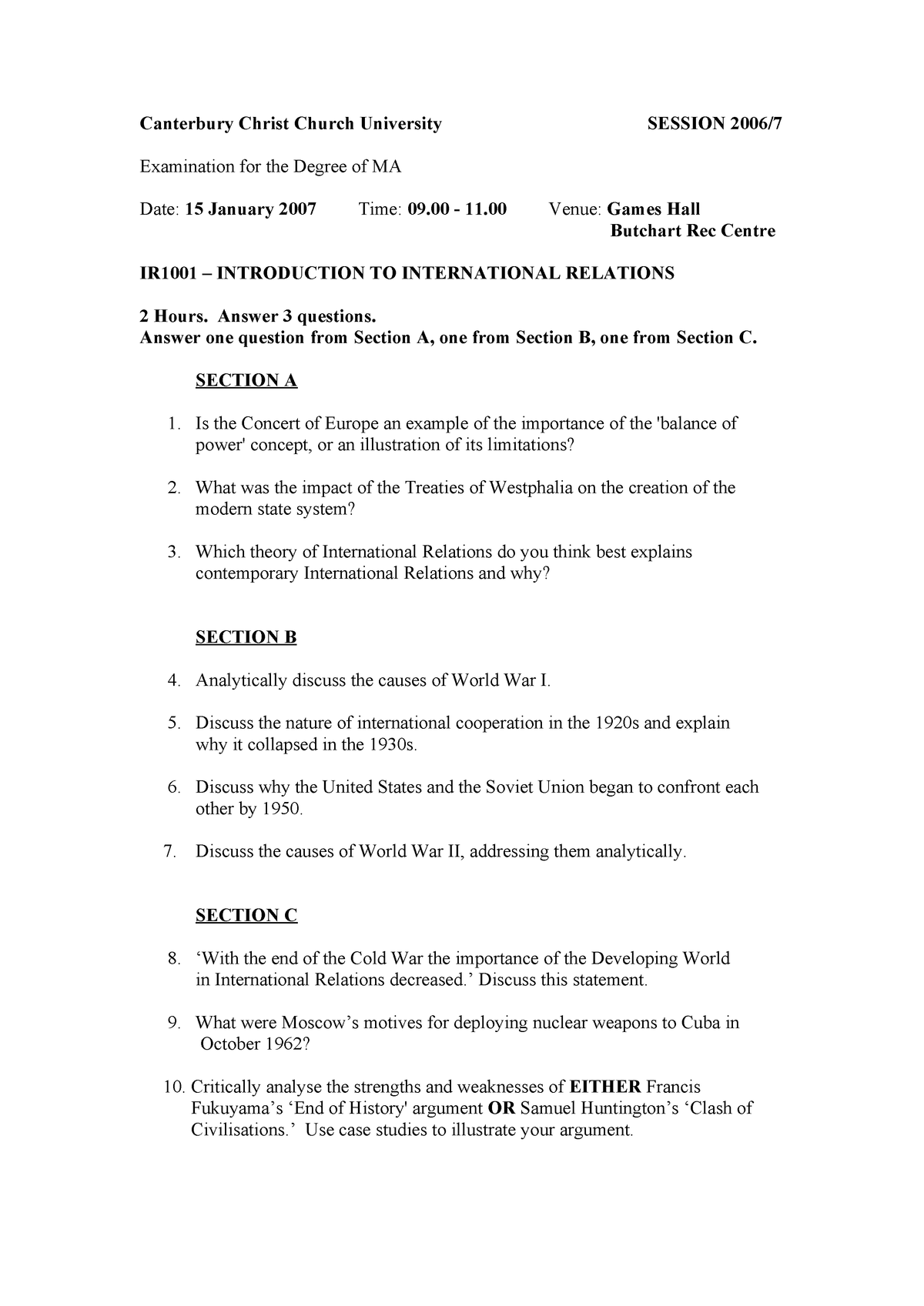 Exam 2009 - Politics and Popular Culture - StuDocu