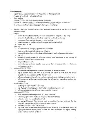 BRE206 Notes - Summary Hong Kong Legal Principles - StuDocu