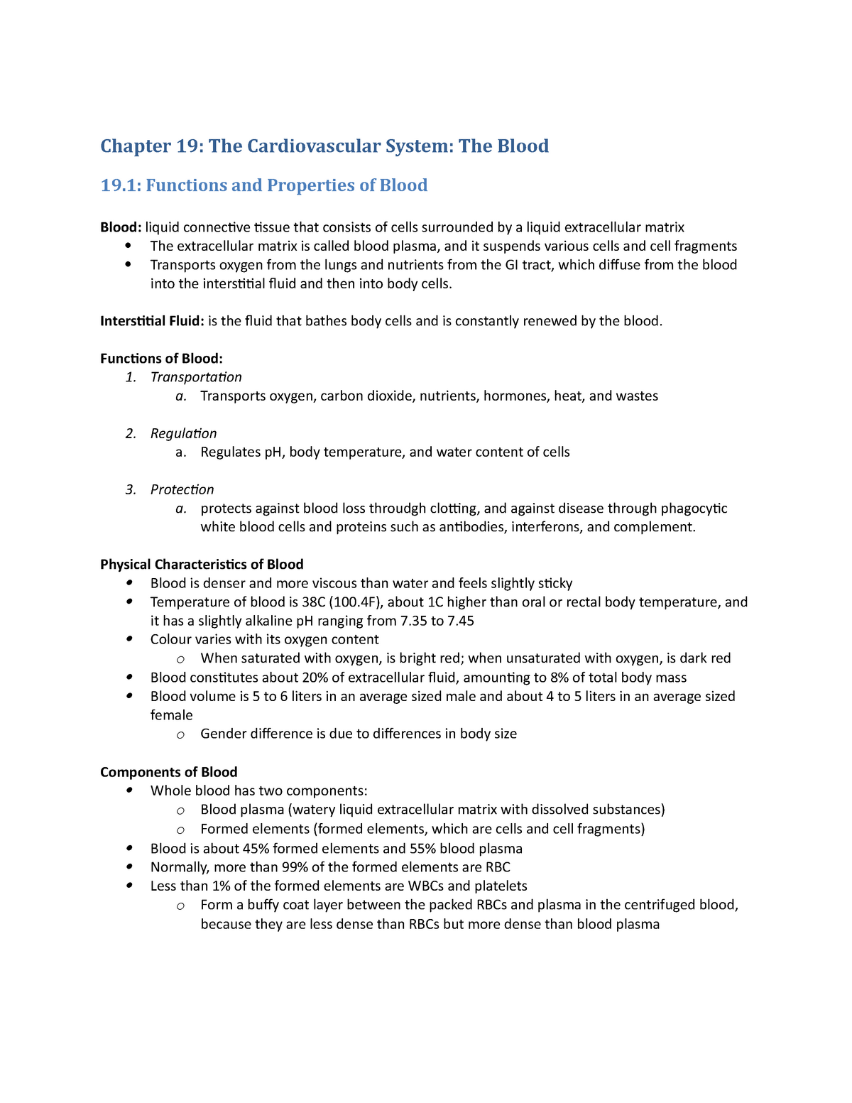 Chapter 19 Summary - Biol 235 Human Anatomy and Physiology ...
