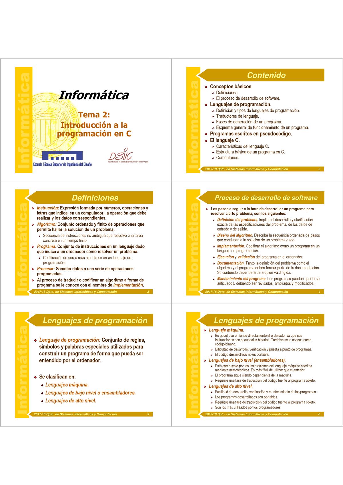 Tema 2 Introduccion A La Programacion En C 6 Informática
