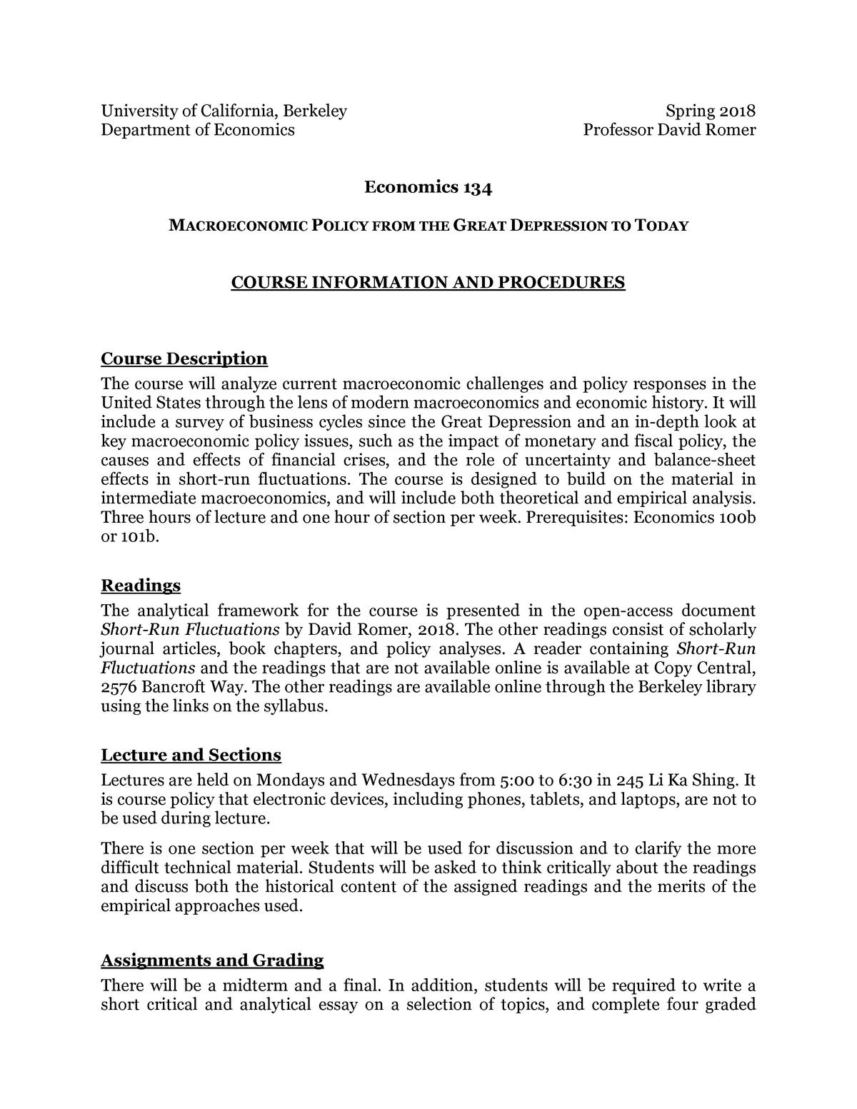 Economics 134 Syllabus - ECON 134: Macroeconomic Policy From