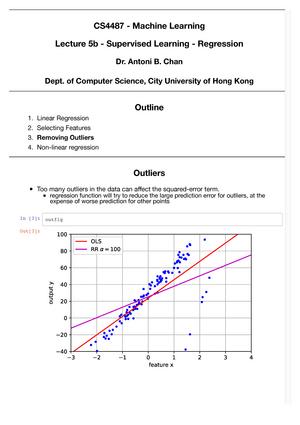 Lecture 5b - Machine Learning CS4487 - CityU - StuDocu