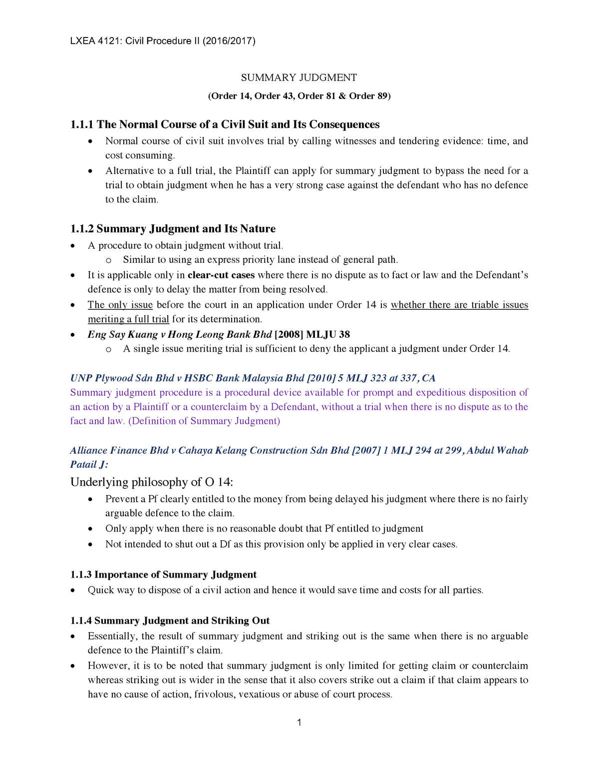 Civil Procedure Sem 2 - Lecture notes Notes for whole