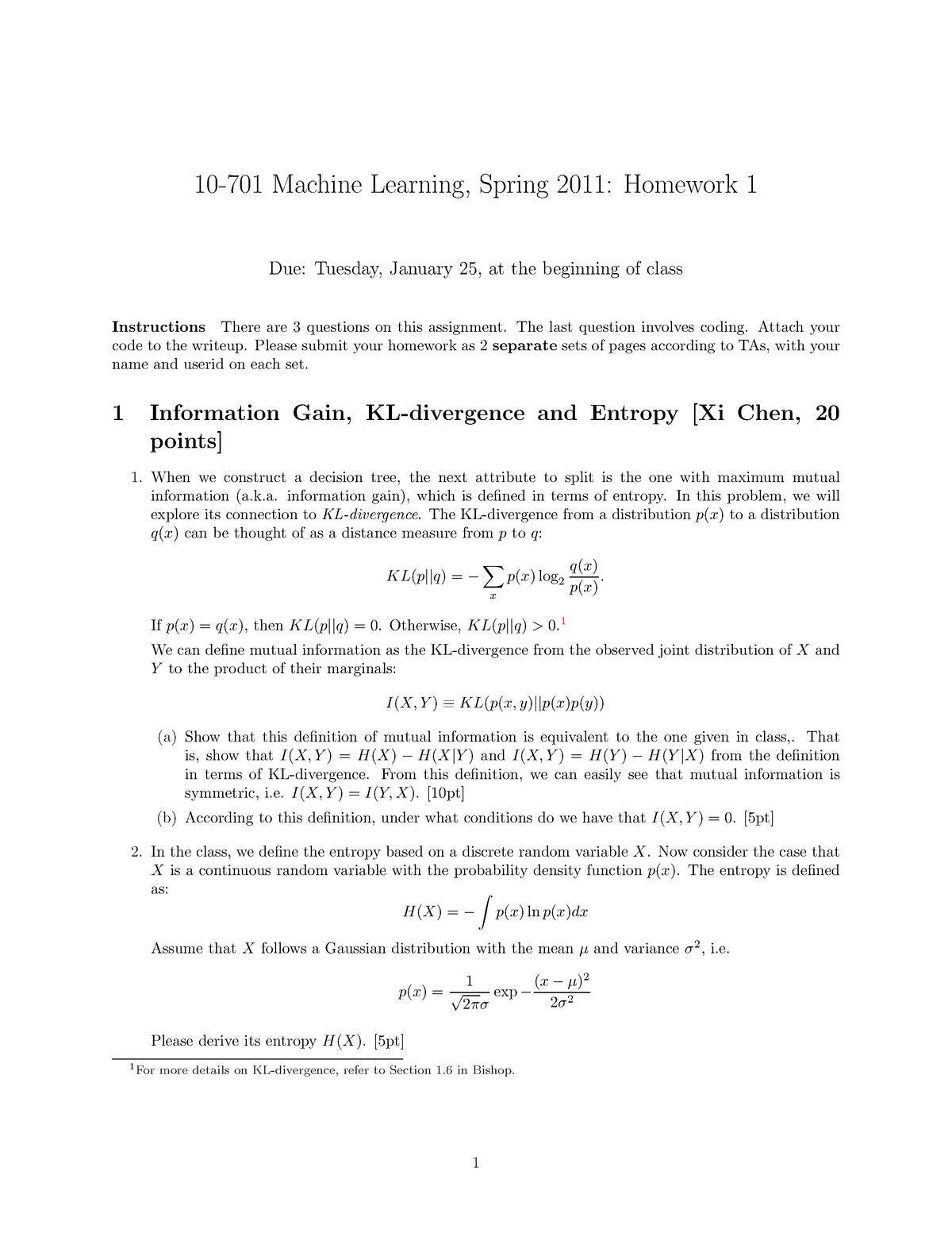 gaussian mutual information homework