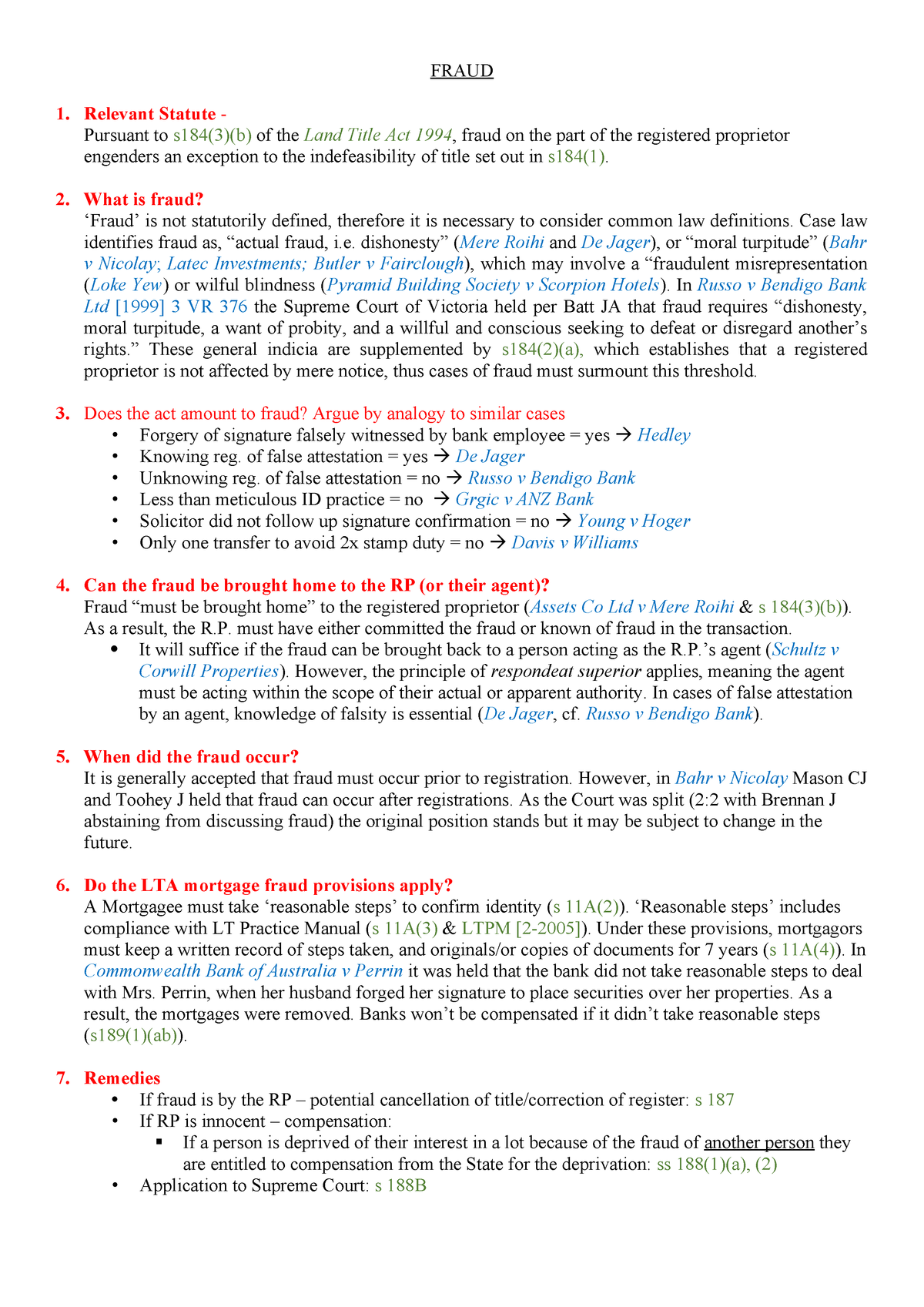 Prop B Cheat Sheets - Summary Law Of Property B - LAWS3112