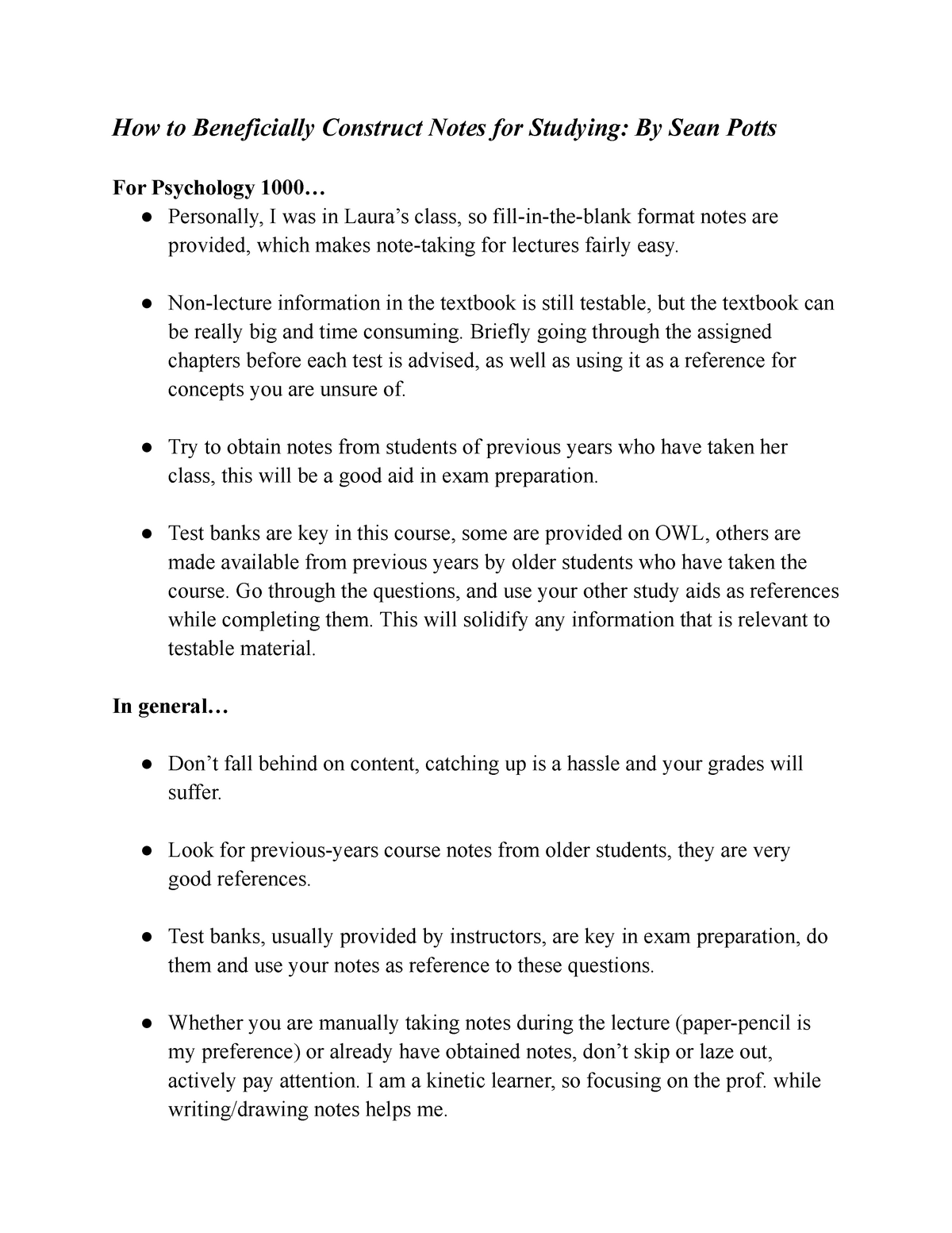 Note-taking tips - Lecture notes Applies to all - UWO - StuDocu
