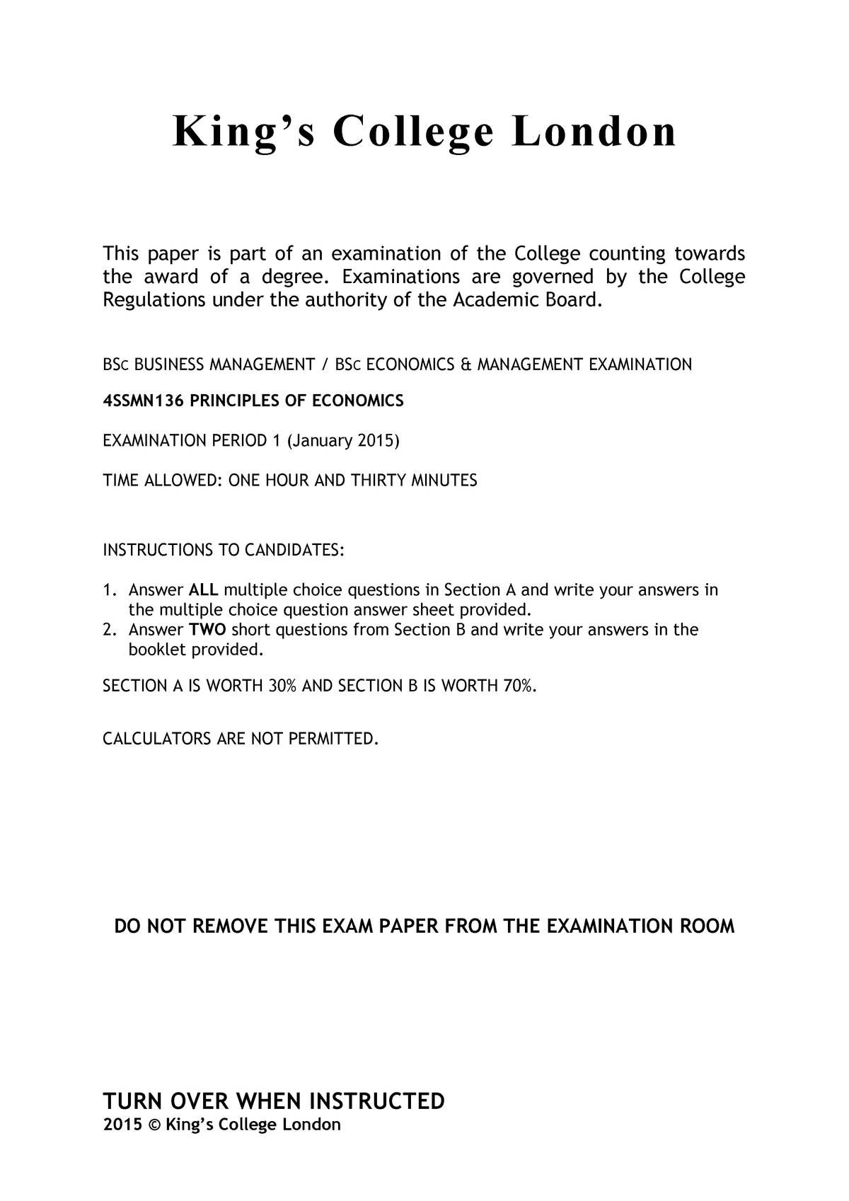 Exam January 2015, Questions - Term 1 Final - 4SSMN136 - StuDocu