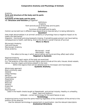 Anatomical planes - Lecture notes 1 - BI4155: Comparative Anatomy ...