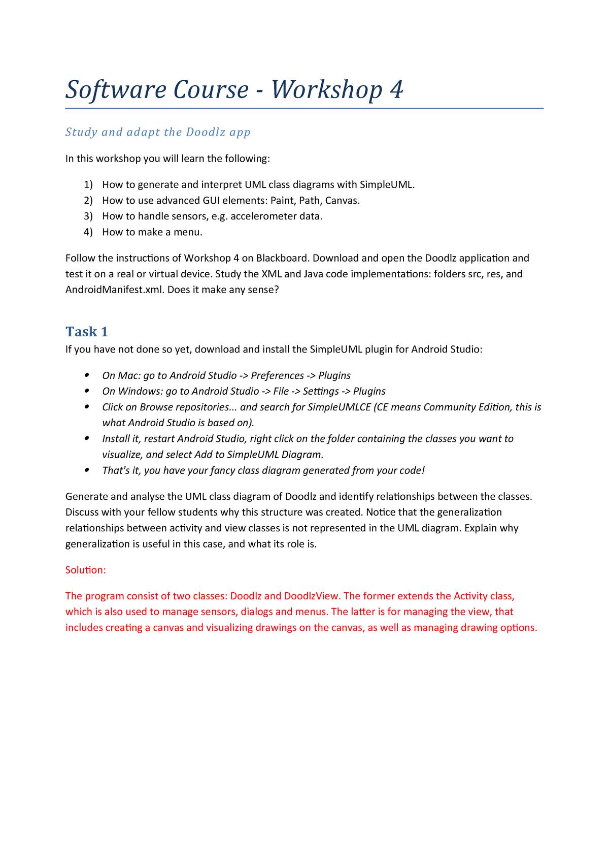 Software Course Workshop 4 V3 Adaptation Mdh 2 Software Course Workshop Study Studocu