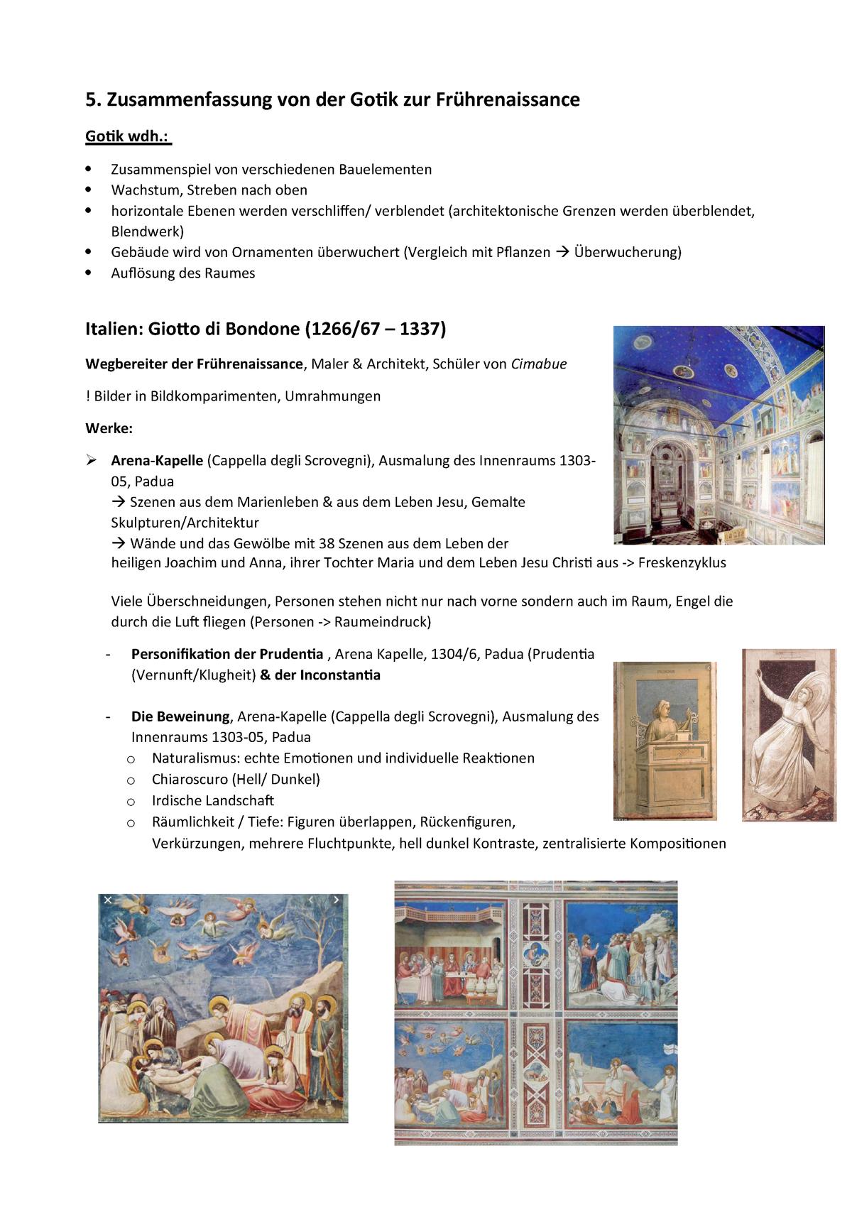 4 Zusammenfassung Kunstgeschichte gotik zu Frührenaisance - StuDocu