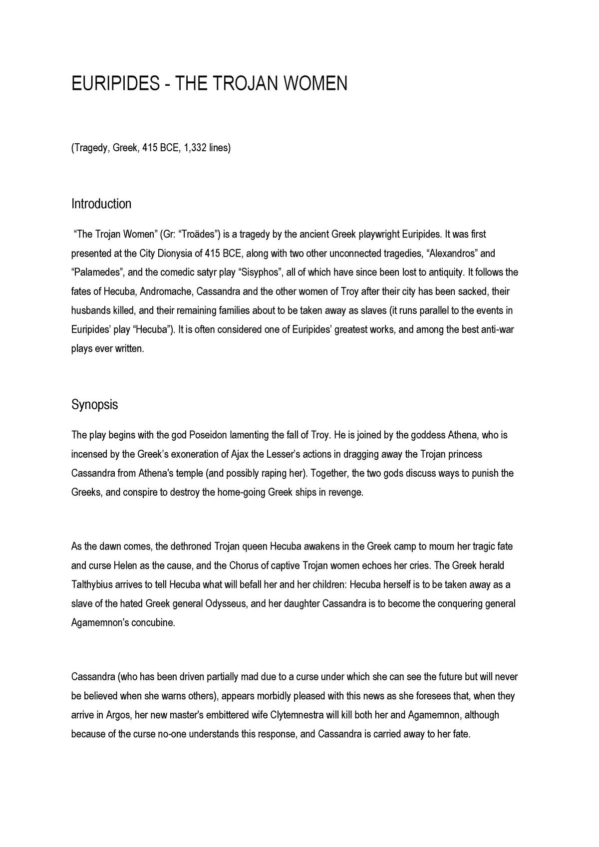 Trojan Women - StuDocu Summary Library EN - StuDocu