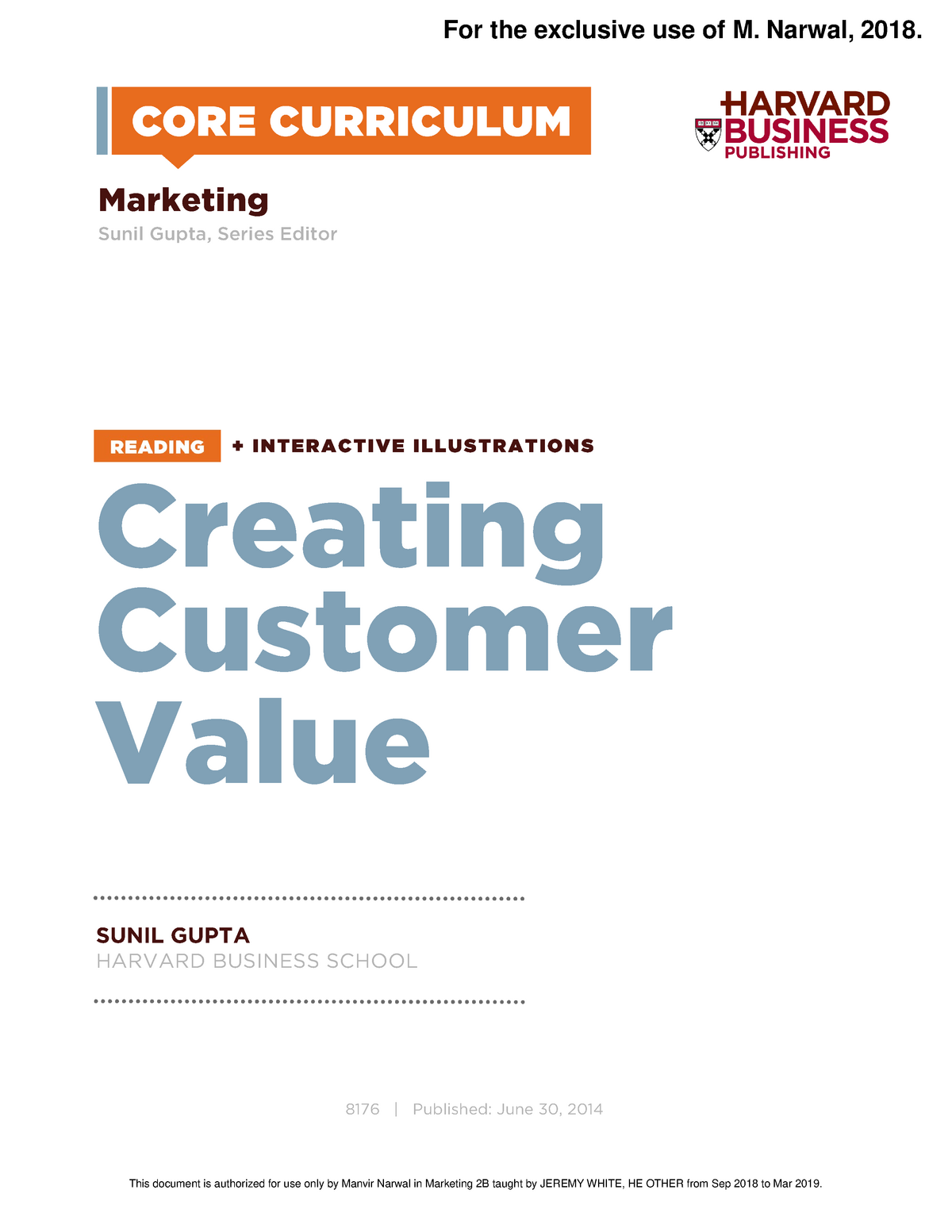 Creating customer value - Bus 444: Business to Business Marketing