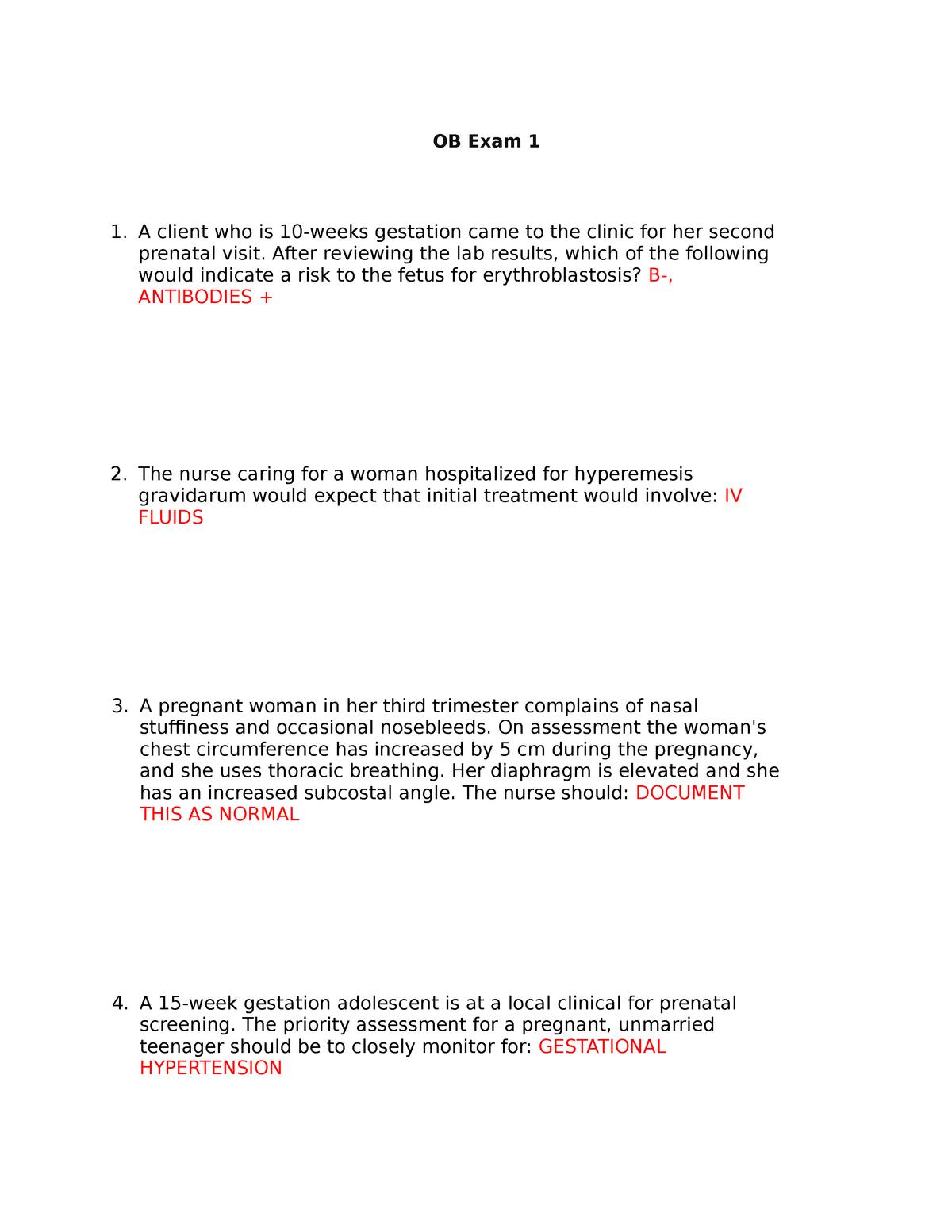 Exam 1 qs OB - practice questions - NUR 4130: Concepts Of Maternal
