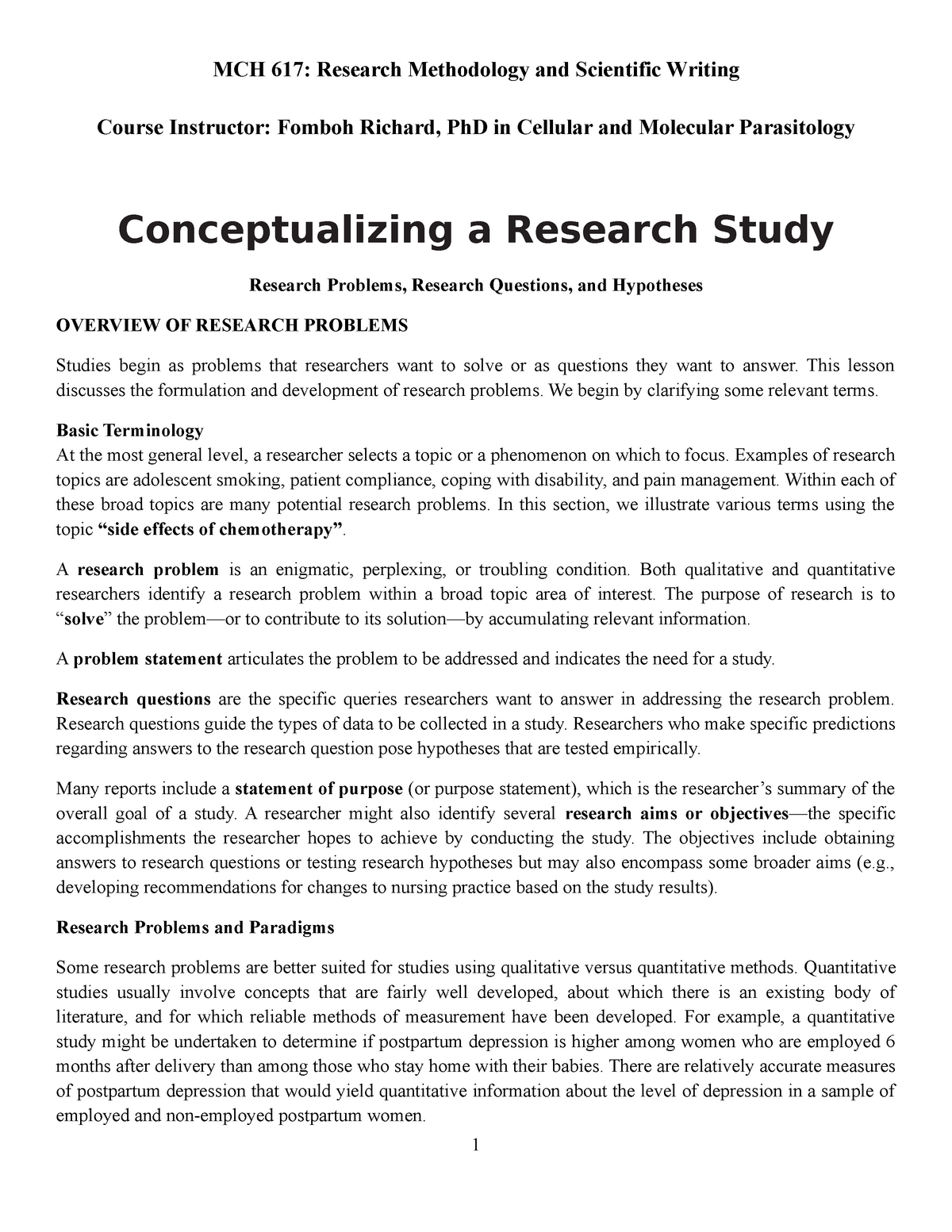 3 Conceptualizing a Research Study - MCH 617: Research