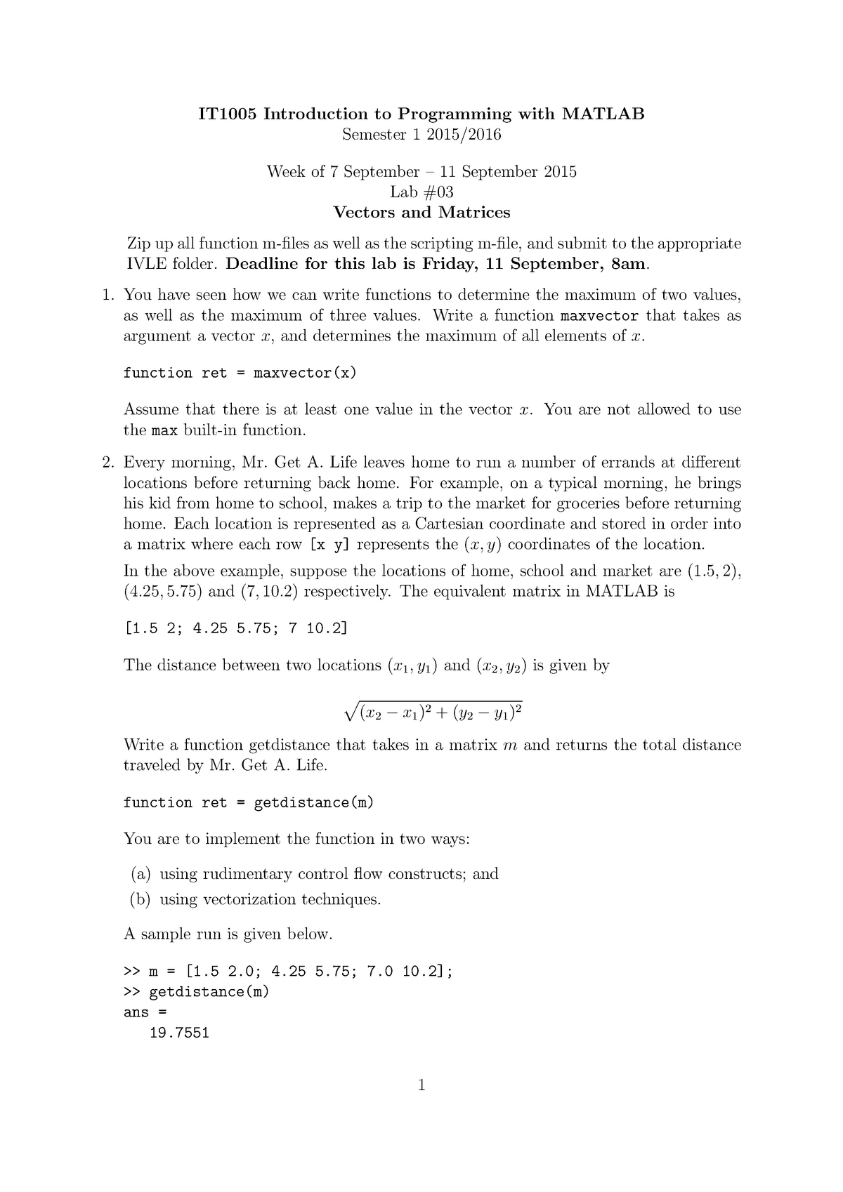 Lab03 - Vectors and Matrices - IT1005: Introduction to