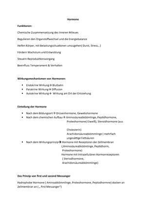 Hormone - Zusammenfassung der Veranstaltung - L 098 130011