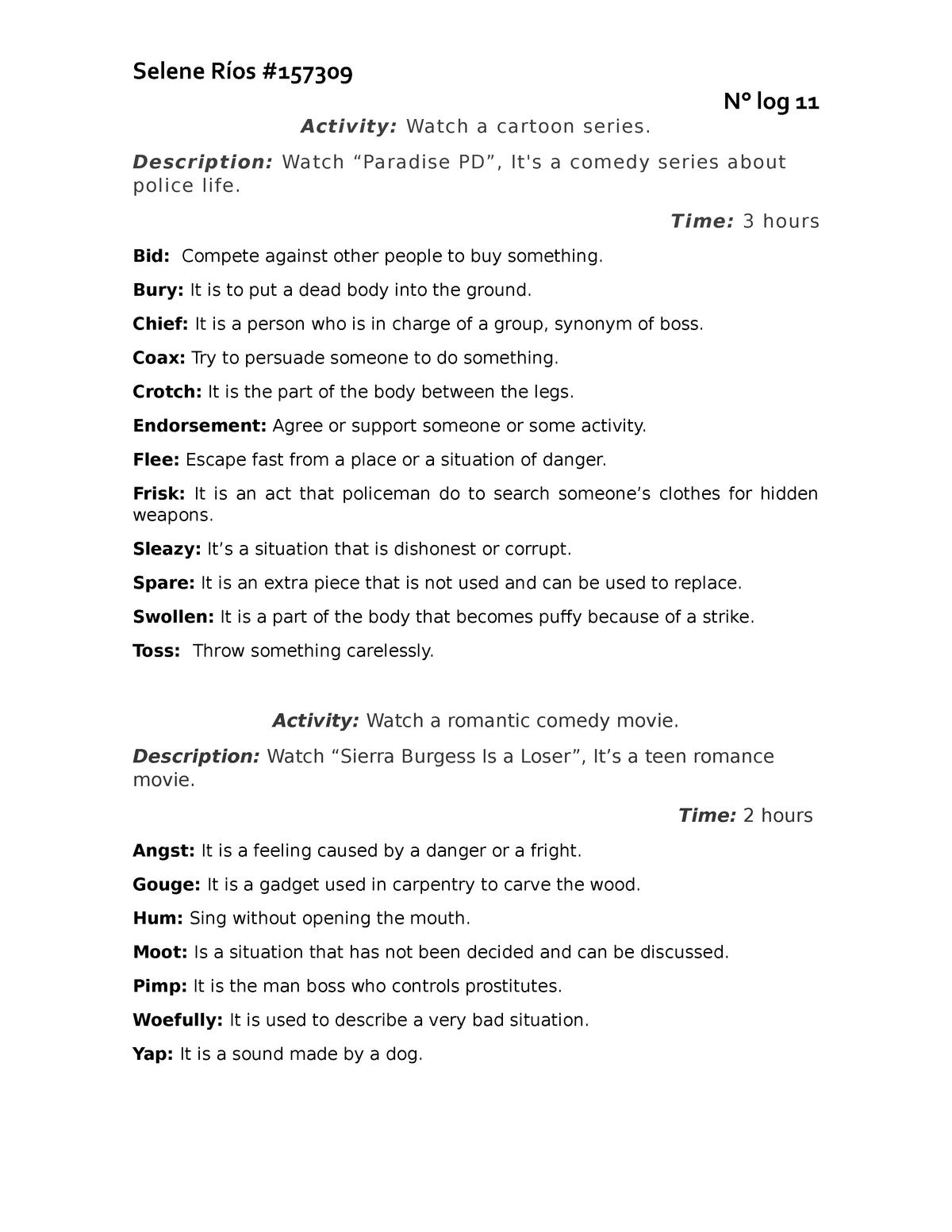 Log 11 - Palabras complejas descritas explicita mente con excelente