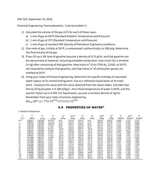 Engineering Thermodynamics Tutorial Work Tutorial 1 10