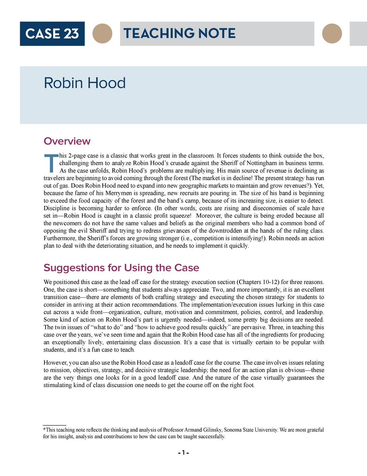 robin hood analysis essays