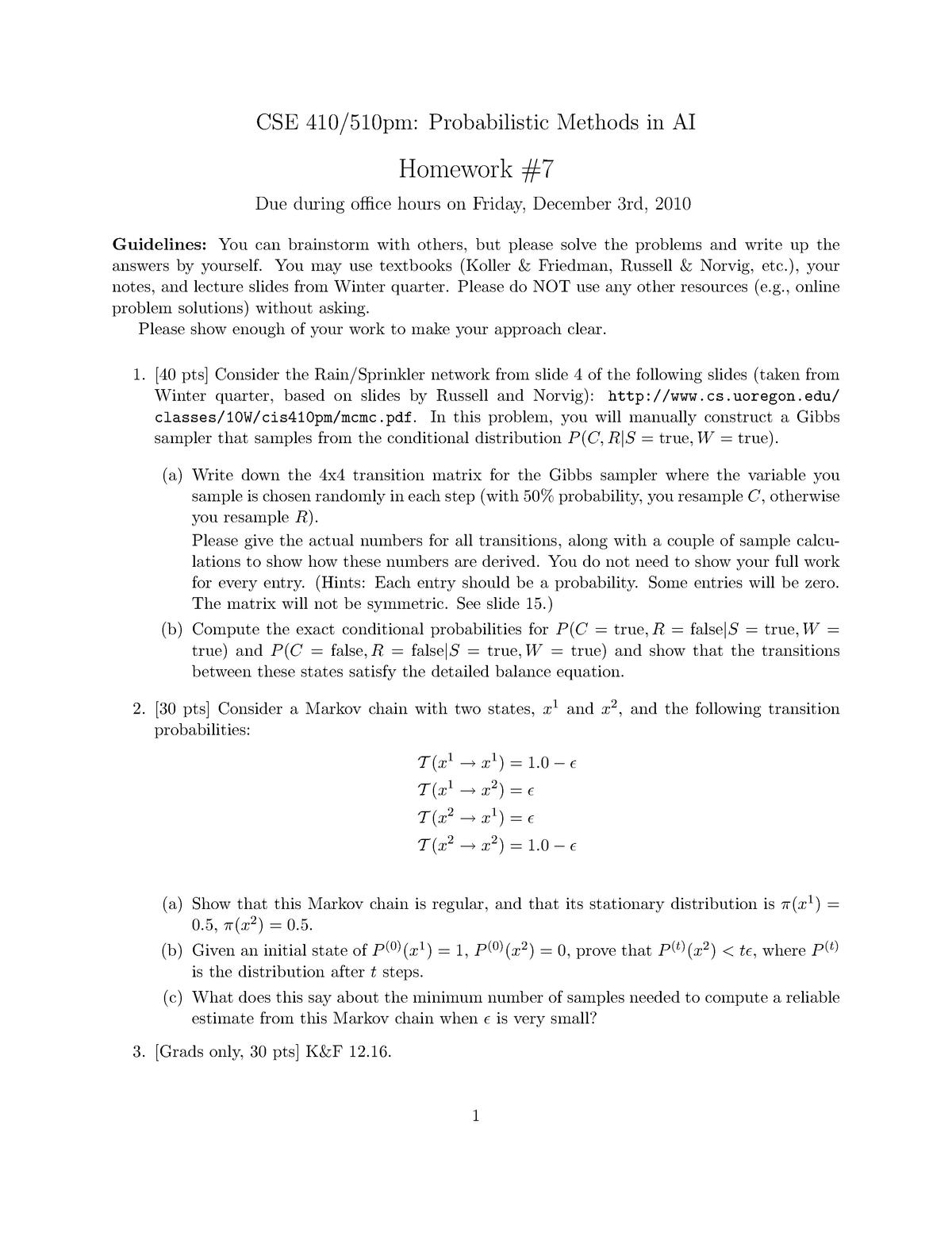 Hw7 - Homework assignment 7 - CIS 410: Probabilistic Methods