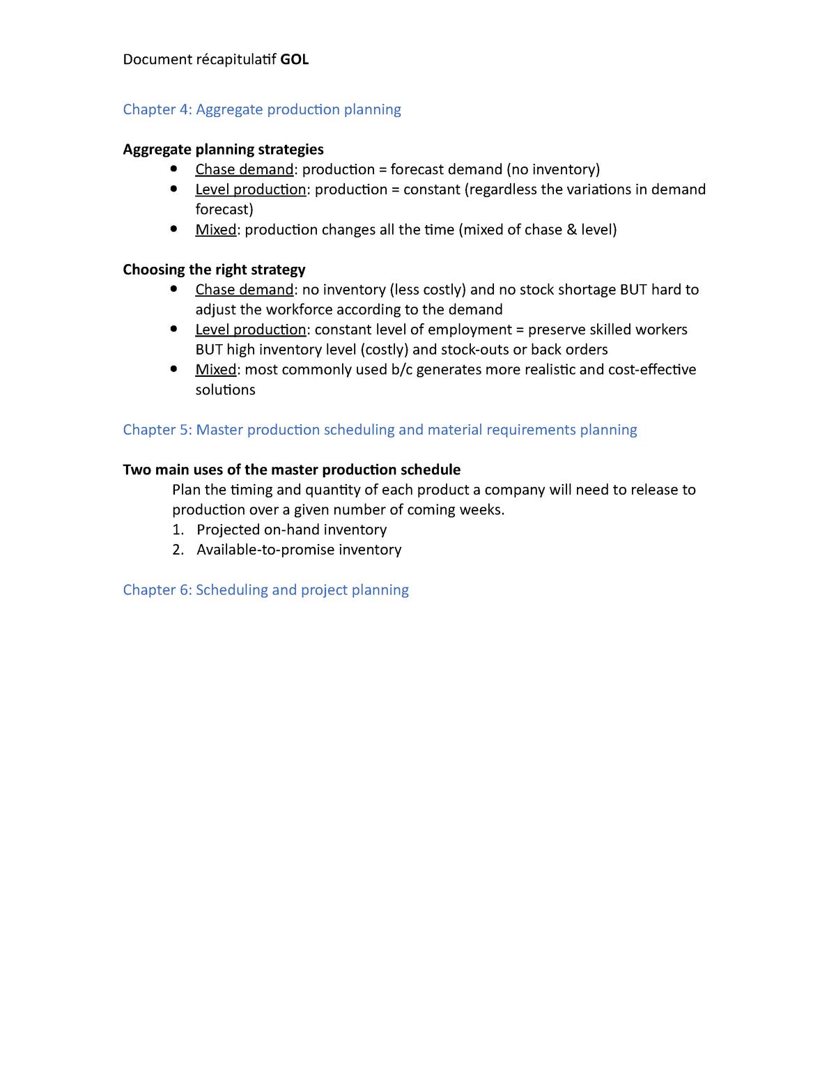 Document récapitulatif GOL - 453003: Gestion des opérations