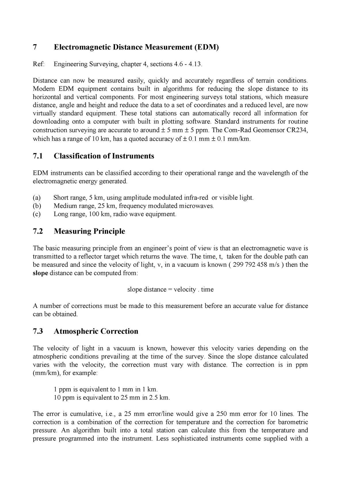 EDM electomagnetic distance measurement - CIVL272 Surveying