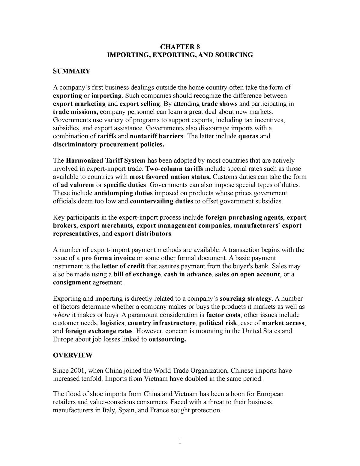 Summary ch 8 - course - Marketing internaţional International