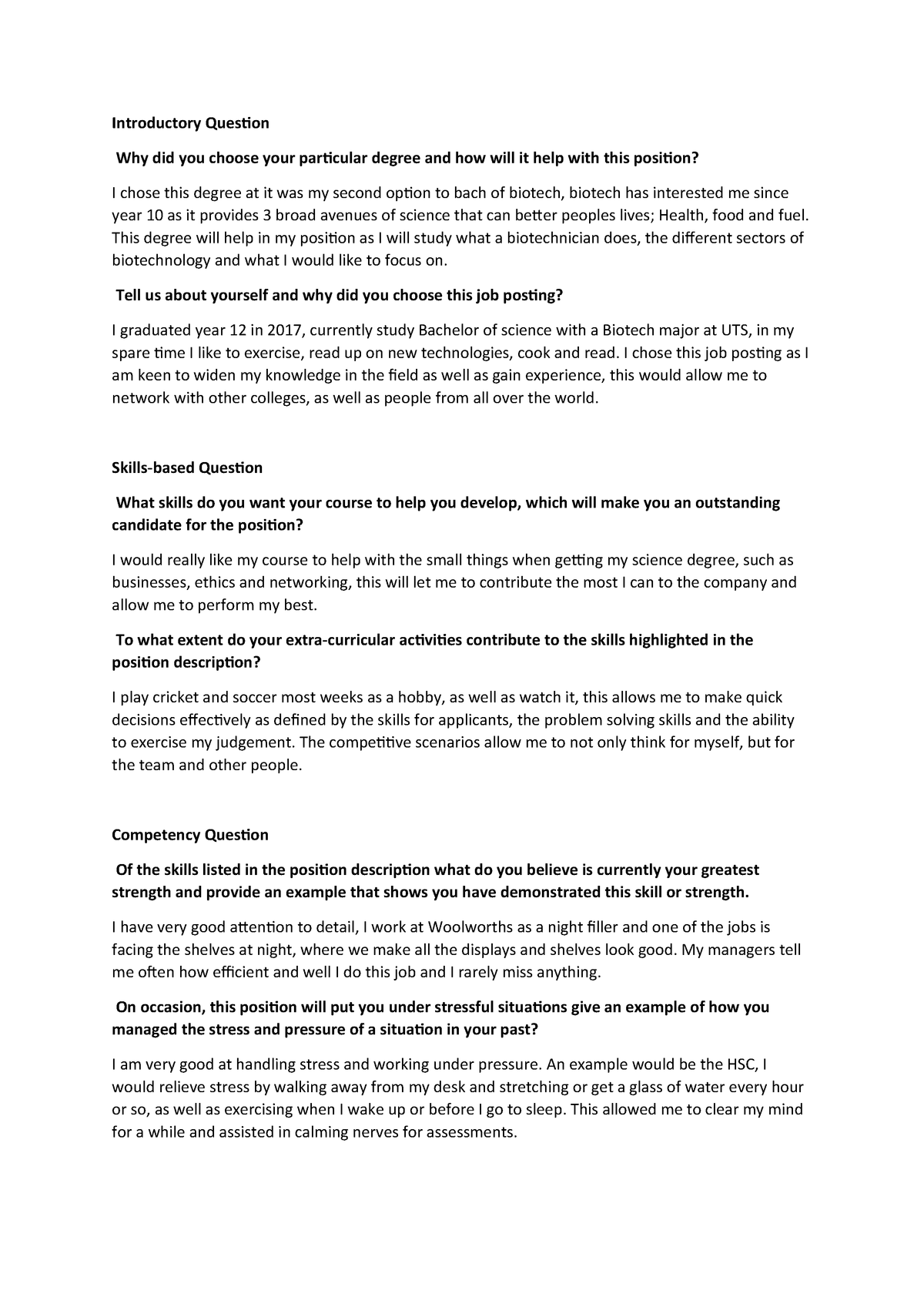 PSP interview - 60001 Principles of Scientific Practice