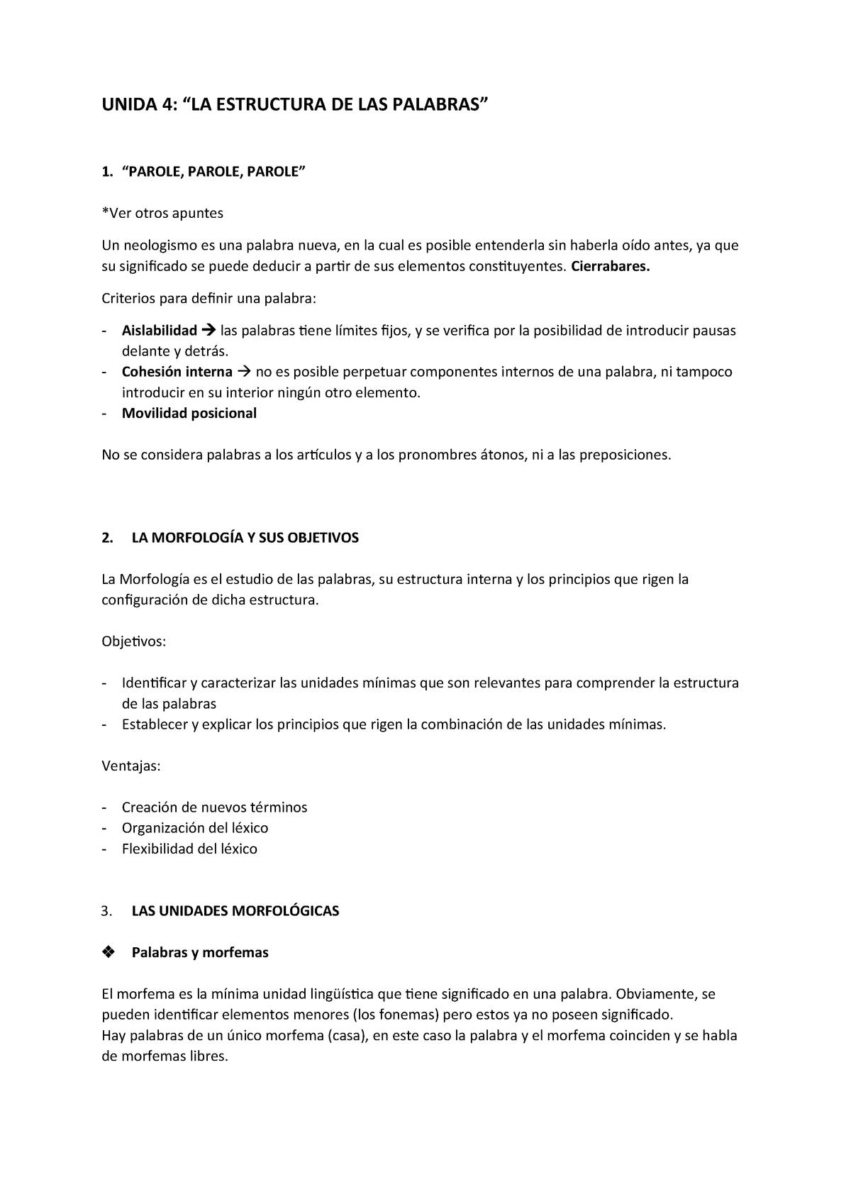 T4 La Estructura De Las Palabras El Lenguaje Humano
