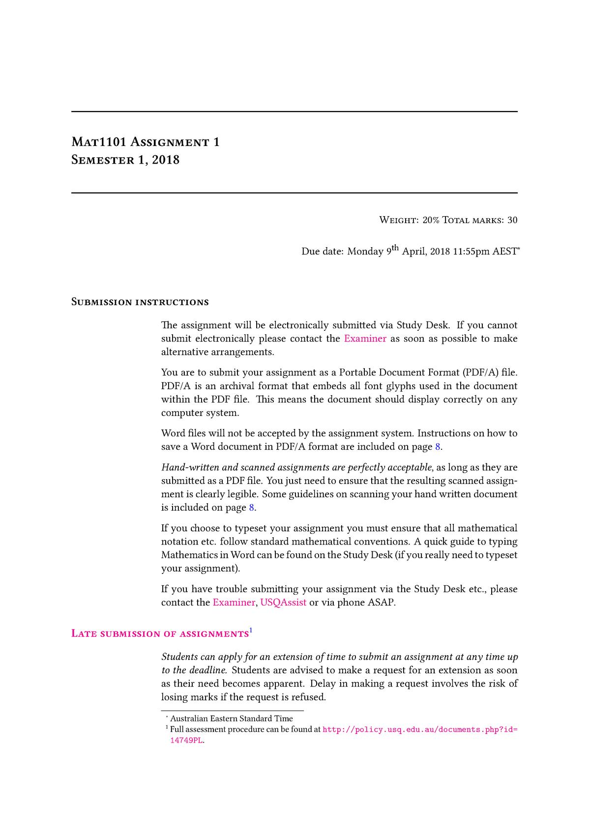 Assignment 1 - MAT1101: Discrete Mathematics for Computing - StuDocu