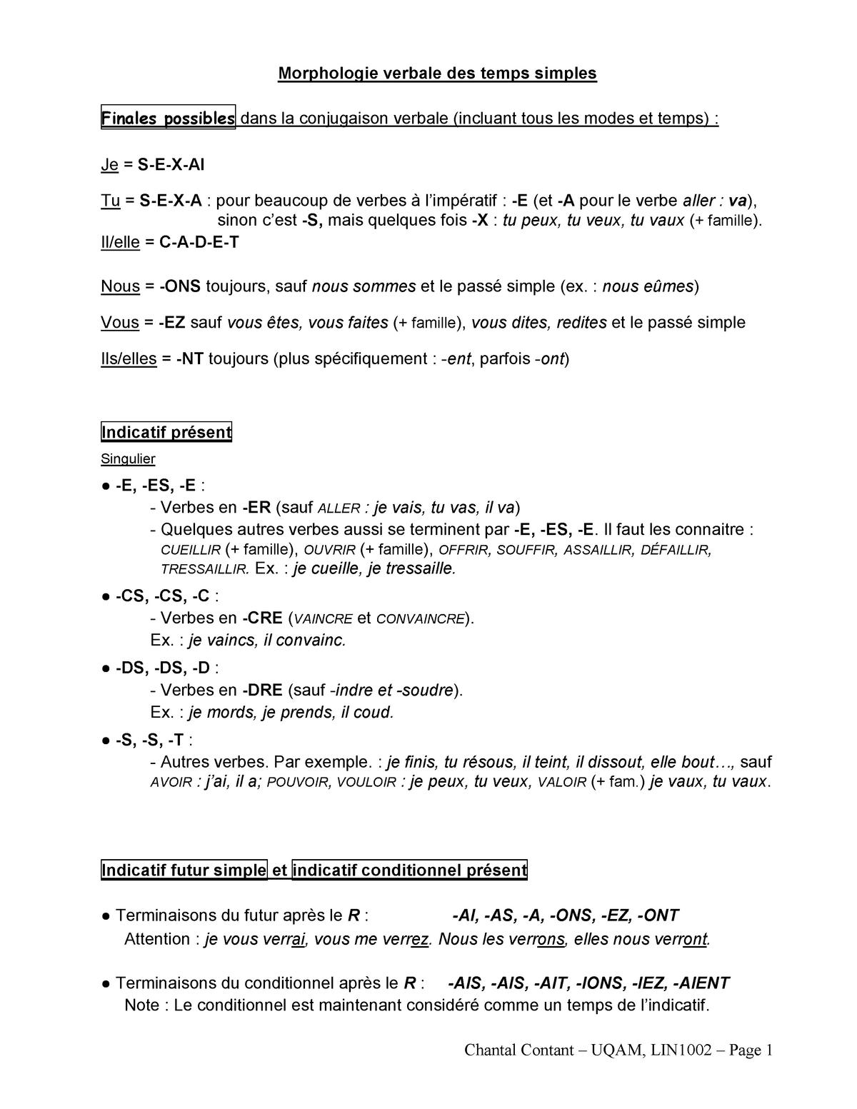 03 Morphologie Synthese Des Conjugaisons 1002 Studocu